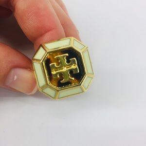"""Tory Burch """"Rylan"""" Statement Ring Gold Logo"""